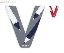 Drevené písmeno V ABCDeco Janod lepiace 9 cm od 3-6 rokov modré/červené