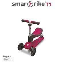 Kolobežka a odrážadlo T1 smarTrike 3v1 s T-lock systémom, nastaviteľným sedadlom a rúčkou šedo-ružová od 15 mes