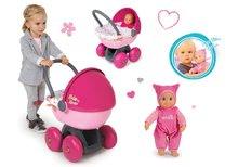 Bábiky s doplnkami sety - Set bábika Minikiss Smoby 27 cm a hlboký kočík s textilom Baby Nurse pre bábiku (56 cm rúčka) od 18 mes_10