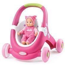 Kočárky pro panenky od 12 měsíců - Chodítko a kočárek pro panenku 2v1 MiniKiss Smoby růžové s brzdou od 12 měsíců_0