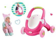 Set premergător şi cărucior 2 în 1 MiniKiss Smoby şi păpuşă de jucărie cu efecte sonore cu căciulă de la 12 luni