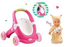 Set kočík pre bábiku a chodítko 2v1 MiniKiss Smoby a bábika do postieľky