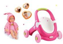 Set kočárek pro panenku a chodítko 2v1 MiniKiss Smoby a panenka se zvuky na koupání od 12 měsíců