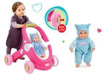 SMOBY 160180-1 chodítko a kočiarik Minnie pre bábiku+ružová bábika so zvukom v čiapočke MiniKiss