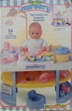 Domčeky pre bábiky - Prebaľovací stôl pre bábiku Nursery Écoiffier s kuchynkou s 24 doplnkami modro-biely od 18 mes_2