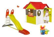 Set dětský domeček My House Smoby se zvonkem, skluzavka Toboggan XL s vodou a délkou 2,3 m a kbelík set Hledá se Dory