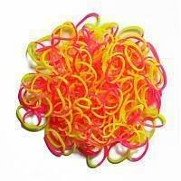Rainbow Loom gumičky dvojfarebné - Rainbow Loom originálne dvojfarebné gumičky 300 kusov ružovo-žlté od 6 rokov_0