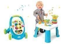 Set didaktický stolík Cotoons Smoby s funkciami modrý a chodítko s kockami, svetlom a melódiou modré