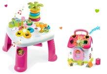 Szett készségfejlesztő asztal Cotoons Smoby funkciókkal rózsaszín és formaillesztő házikó fénnyel és hanggal rózsaszín