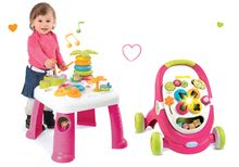 Set didaktický stolík Cotoons Smoby s funkciami ružový a chodítko s kockami, svetlom a melódiou ružové