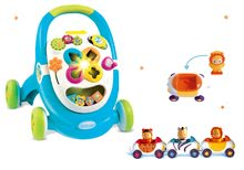 Set chodítko Cotoons Smoby modré s kockami, svetlom a melódiou a autíčka Imagin Car Cotoons