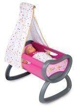 Bábiky s doplnkami sety - Set bábika Minikiss Smoby 27 cm, jedálenská stolička, kolíska s baldachýnom a kočík pre bábiku (53,5 cm rúčka) od 18 mes_5