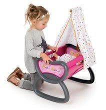 Bábiky s doplnkami sety - Set bábika Minikiss Smoby 27 cm, jedálenská stolička, kolíska s baldachýnom a kočík pre bábiku (53,5 cm rúčka) od 18 mes_6