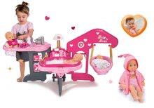 Szett babacenter Baby Nurse Smoby és játékbaba hangeffektekkel MiniKiss fürdéshez 27 cm
