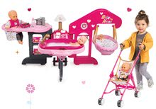 Szett babacenter játékbabának Baby Nurse Smoby és ӧsszecsukható játék babakocsi Baby Nurse Arany kiadás (47,5 cm tolókar)