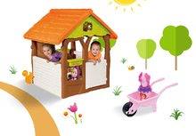 Set domeček pro děti Máša a medvěd Smoby s květináčem a kolečko do písku s vědro setem od 2 let