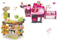 Set domček pre bábiku Baby Nurse Doll's Play Center Smoby a kaviareň s Espresso kávovarom Coffee House