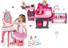 Set domček pre bábiku Baby Nurse Doll's Play Center Smoby a kozmetický stolík Princezné 2v1 so stoličkou