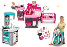 Set domček pre bábiku Baby Nurse Doll's Play Center Smoby a kuchynka Tefal Studio Bubble a upratovací vozík s vysávačom