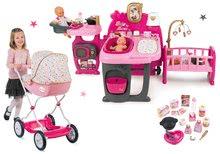 Set domček pre bábiku Baby Nurse Doll's Play Center Smoby a kočík hlboký Landau Baby Nurse Zlatá edícia