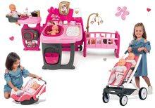 Set domček pre bábiku Baby Nurse Doll's Play Center Smoby a kočík Trio Pastel Maxi Cosi & Quinny a autosedačka
