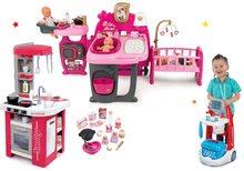 Set domček pre bábiku Baby Nurse Doll's Play Center Smoby a kuchynka Tefal Studio elektronická a lekársky vozík so zvukom
