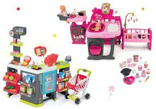 Set domček pre bábiku Baby Nurse Doll's Play Center Smoby a obchod zmiešaný tovar Maxi Market elektronický