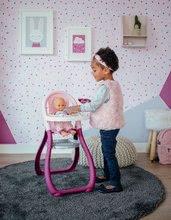 Bábiky s doplnkami sety - Set bábika Minikiss Smoby 27 cm, jedálenská stolička, kolíska s baldachýnom a kočík pre bábiku (53,5 cm rúčka) od 18 mes_12