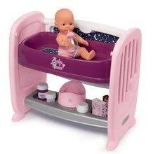 Babaágy gyermekágy mellé pelenkázó pulttal Violette Baby Nurse 2in1 Smoby 3 pozíciós, pisilő játékbabával és 8 kiegészítővel 24 hó-tól