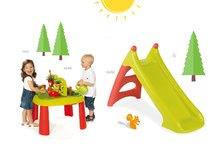 SMOBY 840100-4 játszóasztal Kertész De JARDINAGE 2 az 1-ben kerítéssel + vízi csúszda Toboggan XS 2 éves kortól