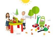 SMOBY 840100-13 detský stôl Záhradník De JARDINAGE 2v1 s plotom+kosačka, vysávač na lístie a vozík 3v1 od 2 rokov