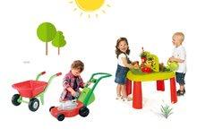 SMOBY 840100-12 detský stôl Záhradník De JARDINAGE 2v1 s plotom+kosačka na trávu+fúrik s dvomi kolesami od 2 rokov