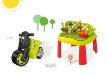 SMOBY 840100-8 játszóasztal Kertész De JARDINAGE 2 az 1-ben kerítéssel + zöld bébitaxi motorkerékpár Racing Bike 2 éves kortól