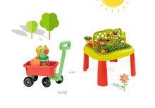 Smoby 840100-16 set dětský stůl Zahradník De jardinage 2v1 s plotem a vozík na tažení s vědro setem od 2 let