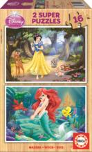 Drevené puzzle Snehulienka a Ariel Educa 2x16 dielov