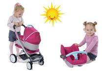 Set kočík pre bábiku 3v1 Maxi Cosi & Quinny Smoby (rúčka 70cm) a autosedačka