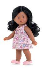 Hračky pro miminka - Panenka Mini Corolline Rosaly Les Trendies Corolle s hnědýma očima a fialové kytičky na šatech 20 cm_0