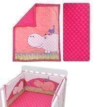 Komplet za posteljico Joy toTs-smarTrike povodni konj odeja, rjuha in blazine 100% bombažni saten rožnat