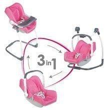 Sada houpačka, autosedačka a židle pro panenku 3v1 retro Maxi Cosi&Quinny Smoby růžová