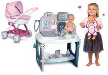Zdravniški vozički kompleti - Komplet zdravniška mizica Baby Care Center Smoby z globokim vozičkom Baby Nurse in nosilko_56