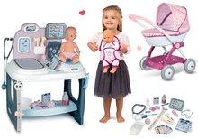 Zdravniški vozički kompleti - Komplet zdravniška mizica Baby Care Center Smoby z globokim vozičkom Baby Nurse in nosilko_19