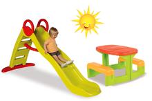 Set šmykľavka pre deti Toboggan Funny Smoby dĺžka 2 m a detský stôl Piknik od 24 mesiacov