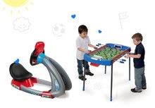 Set dětský trenažér V8 Driver Smoby elektronický se zvukem a světlem a fotbalový stůl Challenger s 2 míčky