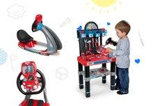 Set dětský trenažér V8 Driver Smoby elektronický se zvukem a světlem a pracovní dílna McQueen s autem
