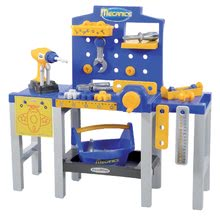 ÉCOIFFIER 2450 MECANICS detská pracovná dielňa s náradím pohyblivá modrá + 31 doplnkov vysoká 62 cm od 18 mesiacov