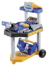 ÉCOIFFIER 2455 MECANICS detská pracovná dielňa na kolieskach modrá + 26 doplnkov vysoká 51 cm od 18 mesiacov