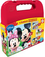 Detské puzzle Mickey Mouse v kufríku Educa progresívne 25-20-16-12 dielov od 24 mesiacov