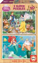 Puzzle din lemn Albă ca Zăpada şi Ariel Educa 2x50 buc de la 5 ani