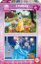 Puzzle Disney Cenușăreasa şi Albă ca Zăpada Educa 2x20 buc