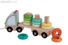 Nákladné autá - Drevený kamión Multi Colors Truck Janod na ťahanie s krúžkami od 24 mes_0
